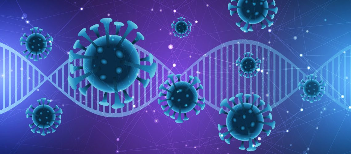 medical background with dna strand and abstract virus cells - covid 19